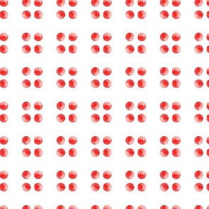 Cherry Red Watercolor Spots || Polka Dots Circles Abstract strawberry fruit summer Miss Chiff Designs