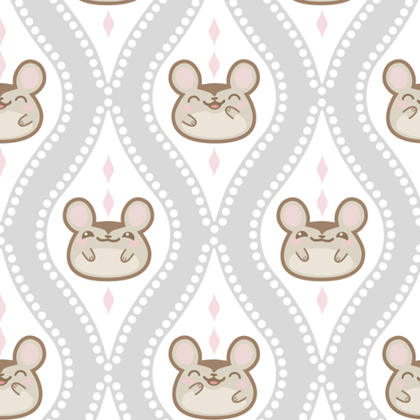 Diamond Mice Grey XL fabric by woodmouse&bobbit on Spoonflower - custom fabric