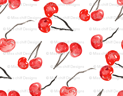 Cherry Red watercolor    summer fruit food black white Italy 4th of July Miss Chiff Designs