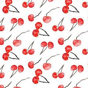 Cherry Red watercolor || summer fruit food black white Italy 4th of July Miss Chiff Designs