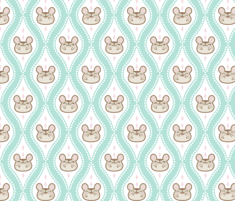 Diamond Mice Turquoise XL fabric by woodmouse&bobbit on Spoonflower - custom fabric