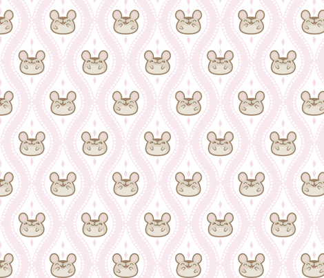 Diamond Mice Baby Pink XL fabric by woodmouse&bobbit on Spoonflower - custom fabric