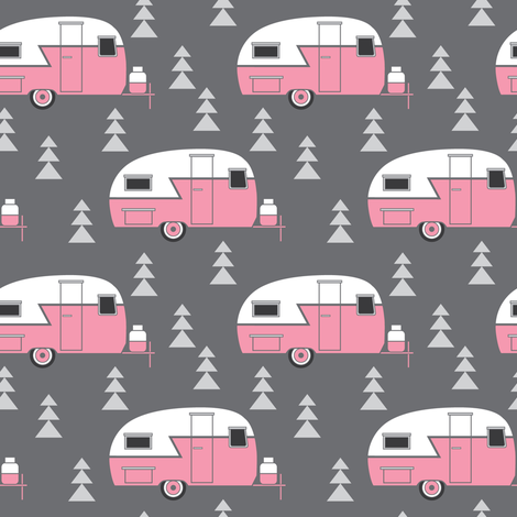 pink trailers on charcoal fabric by lilcubby on Spoonflower - custom fabric