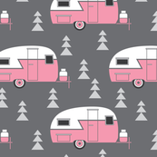 pink trailers on charcoal