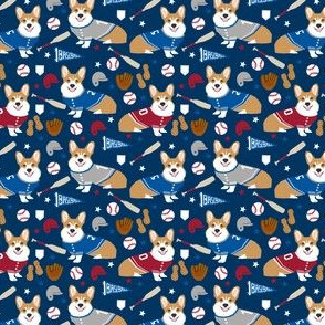 corgi baseball fabric small size cute dogs and mitts design