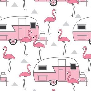 pink trailers and flamingos on white