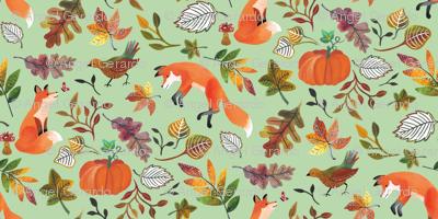 Fall Fox on Green by Angel Gerardo