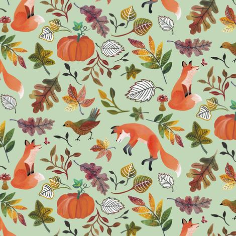 Fall Fox on Green by Angel Gerardo fabric by angelger28 on Spoonflower - custom fabric