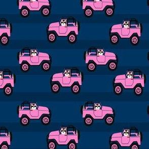 corgi in a jeep fabric pink jeep and dog fabric cute corgi design - navy