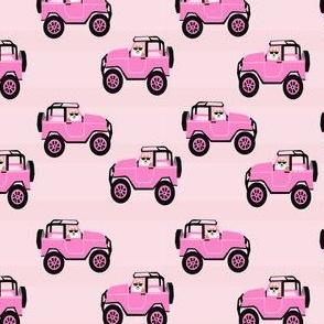 corgi adventure fabric pink car and dog fabric cute corgi design - pink
