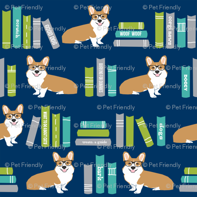 corgi in library fabric library book librarian dog fabric - blue