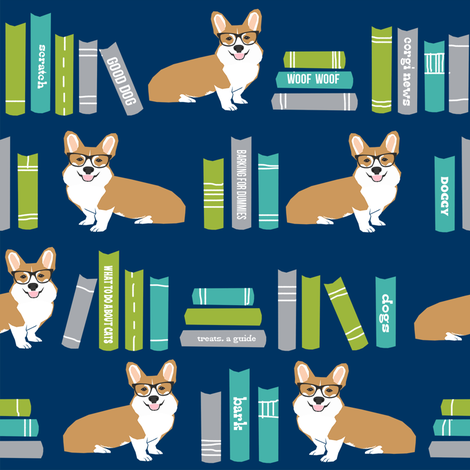 corgi in library fabric library book librarian dog fabric - blue fabric by petfriendly on Spoonflower - custom fabric