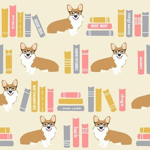 corgi in library fabric library book librarian dog fabric - yellow