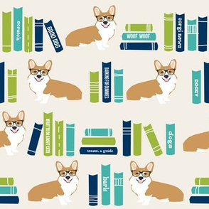 corgi in library fabric library book librarian dog fabric - light