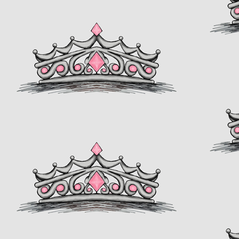 Pink Tiara- Grey Background Full Size fabric by essieofwho on Spoonflower - custom fabric