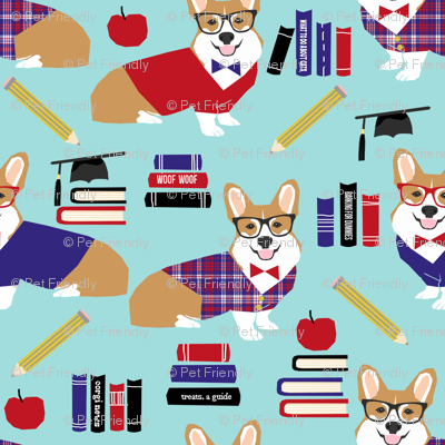 corgi teacher fabric school classroom design corgi apple books design - blue