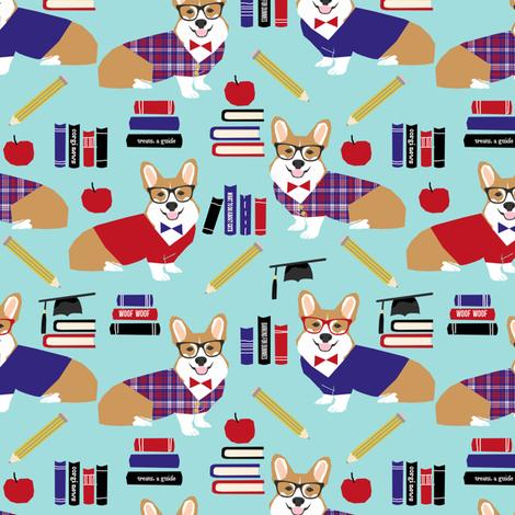 corgi teacher fabric school classroom design corgi apple books design - blue fabric by petfriendly on Spoonflower - custom fabric