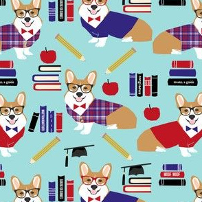 corgi teacher fabric school classroom design corgi apple books design - blue