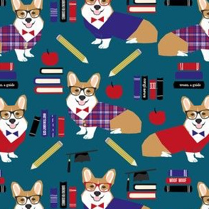 corgi teacher fabric school classroom design corgi apple books design - dark blue