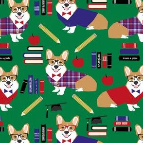 corgi teacher fabric school classroom design corgi apple books design - green