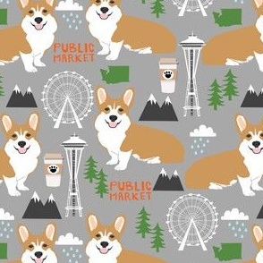 corgi in seattle fabric space needle coffee washington state design - grey