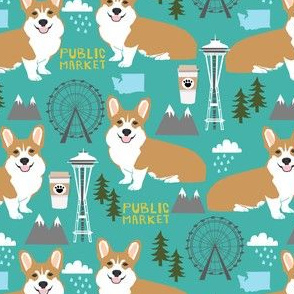 corgi in seattle fabric space needle coffee washington state design - turquoise