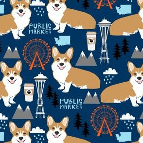 corgi in seattle fabric space needle coffee washington state design - navy