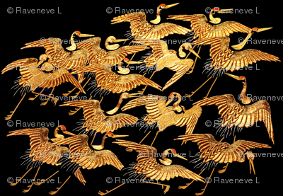royal novelty thrones embroidery asian japanese china chinese oriental cheongsam kimono cranes storks herons birds imperial chinoiserie flying golden kings queens museum traditional rank regal korean kabuki geisha yuan ming qing dynasty tapestry  vintage