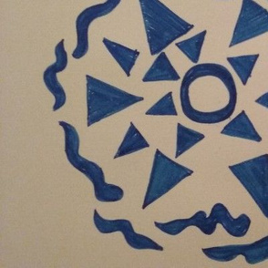 Blue circular design with triangles