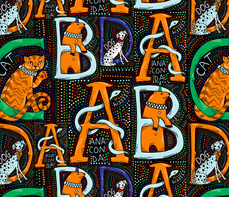 Circus Animal alphabet fabric by beesocks on Spoonflower - custom fabric
