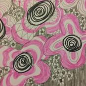 Pink and black floral design
