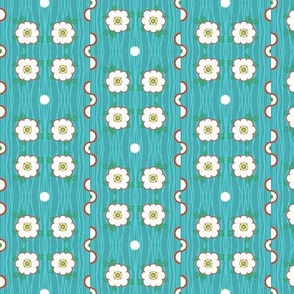 Late to the Party! - Blue/Fox  mini print flower dot