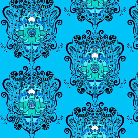 Alien damask fabric jadegordon spoonflower for Alien fabric