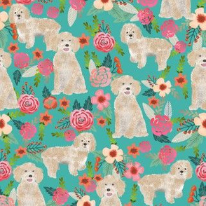 cockapoo fabric dog florals fabric cockapoo cream dog fabric - turquoise