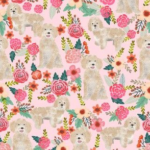 cockapoo fabric dog florals fabric cockapoo cream dog fabric - pink