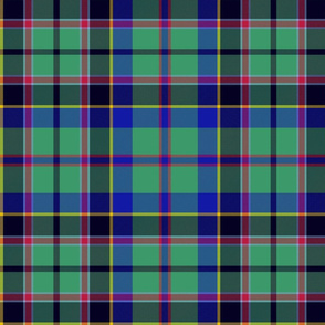 "Stevenson tartan, 12"", cool modern colors"
