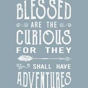 2 yard blanket - blessed are the curious for they shall have adventures (blue)