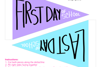 First & Last Day of School Pennants - Purple & Blue fabric by cozyreverie on Spoonflower - custom fabric