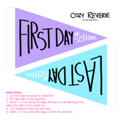 First & Last Day of School Pennants - Purple & Blue