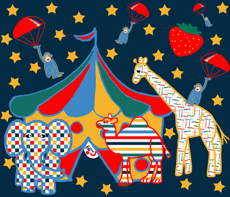 Circus Under A Strawberry Moon! fabric by anniedeb on Spoonflower - custom fabric