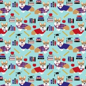 corgi teacher fabric - small size - light blue