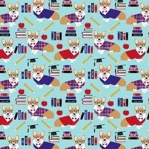 corgi teacher fabric - small size - light blue