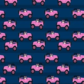 corgi in pink jeep fabric - small size - navy