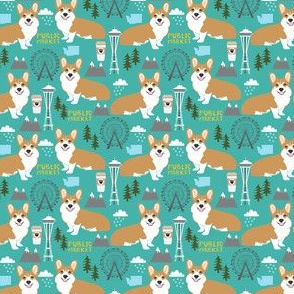 corgi in seattle fabric city design - turquoise