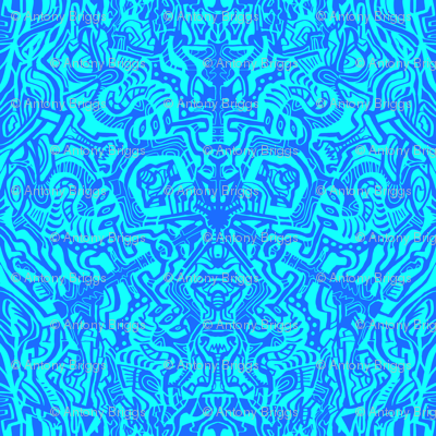 Complex Doodle Square - Dark Blue and Light Blue