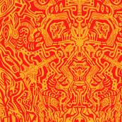 Complex Doodle Square - Orange and Red