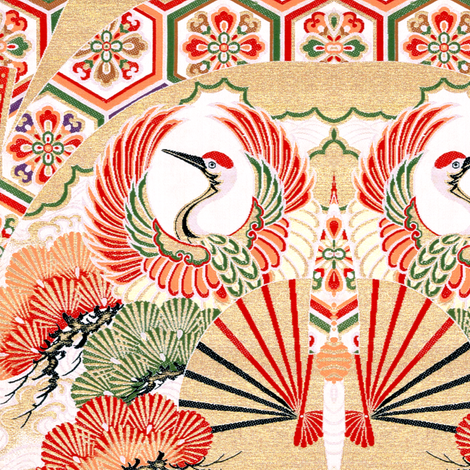 japanese oriental chinese china herons storks cranes birds leaves leaf plants floral flowers kimono fans geometrical  fabric by raveneve on Spoonflower - custom fabric