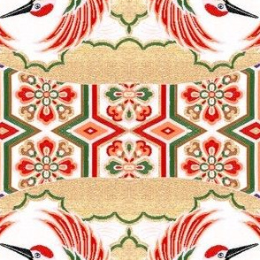 japanese oriental chinese china herons storks cranes birds leaves leaf plants floral flowers kimono fans geometrical