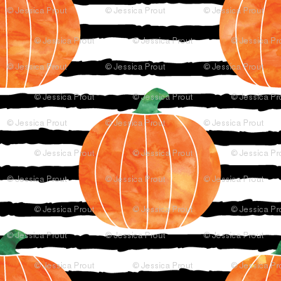 "1"" watercolor pumpkin on stripes - halloween/ fall fabric"