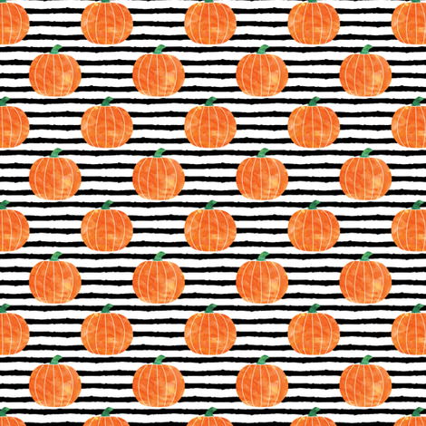 "1"" watercolor pumpkin on stripes - halloween/ fall fabric fabric by littlearrowdesign on Spoonflower - custom fabric"